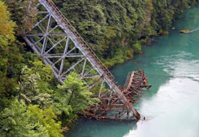 Destroyed bridge on the Neretva near Jablanica
